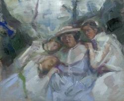 Comforting Edith, oil on linen, 25.5x30.5cm, 2015