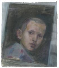 Gabriel, oil on primed paper, 2014
