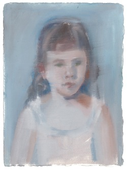 River Girl, oil on primed paper,18x14cm, 2014