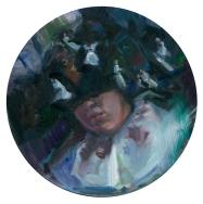 Peta Dzubiel, Edith's Dream, 2016, oil on board, 20 cm tondo