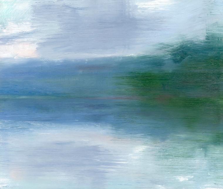 Peta Dzubiel, Narrabeen Lake #2, 2016, oil on board, 25cm x 30cm (2)