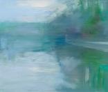 Peta Dzubiel, Narrabeen Lake #3, 2016, oil on board, 25cm x 30cm