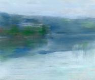 Peta Dzubiel, Narrabeen Lake #4, 2016, oil on board, 25cm x 30cm