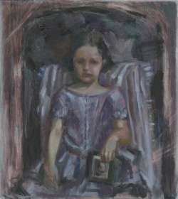 Child with Portrait of Father, 2017, Peta Dzubiel, oil on aluminium plate, 23 x20.5cm