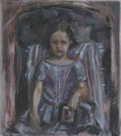 Child with Portrait of Father, 2017, Peta Dzubiel, oil on aluminium plate, 23 x20.5cm