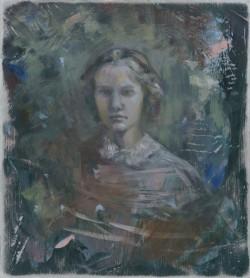 Found Daguerreotype, 2017, oil on aluminium, 23 x 20.5cm, Peta Dzubiel