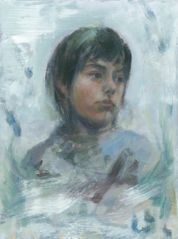 Lost 4 - Aluminium Boy, 2017, Peta Dzubiel, oil on aluminium plate, 23 x20.5cm (2)