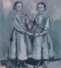 Sisters, 2017, Peta Dzubiel, oil on aluminium plate, 23 x20.5cm