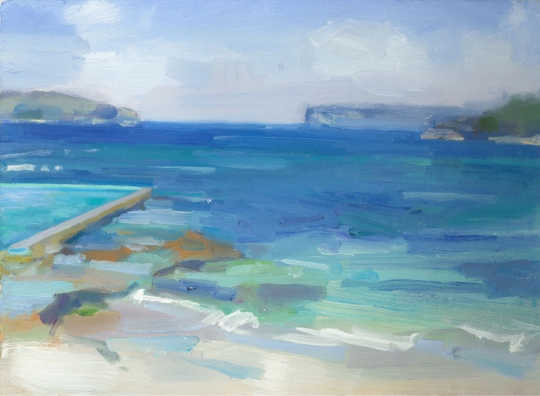 Fairlight Pool, oil on paper, 2018
