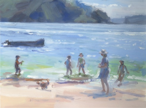 Beach Days, oil on paper, 2018